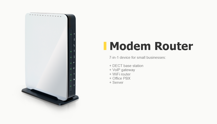 7-in-1 device for small businesses: DECT base station, VolP gateway, WiFi router, Office PBX, Server